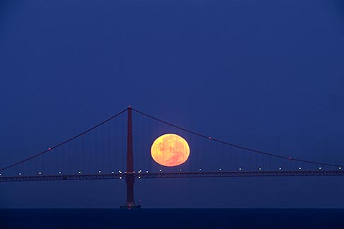 image 7-463-29 California, San Francisco Bay, Moonset behind Golden Gate Bridge