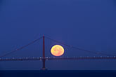 suspension bridge stock photography | California, San Francisco Bay, Moonset behind Golden Gate Bridge, image id 7-463-29