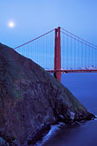 suspension bridge stock photography | California, San Francisco Bay, Golden Gate Bridge and moon, image id 8-227-43
