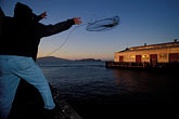 dusk stock photography | California, San Francisco, Fishing for Crabs, Fort Mason Pier, image id 8-422-16