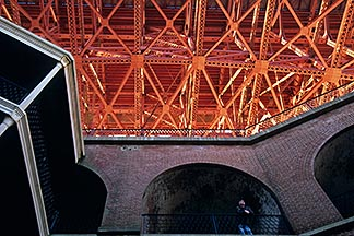 8-720-66  stock photo of California, San Francisco, Fort Point beneath Golden Gate Bridge