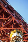 crossing stock photography | California, San Francisco, Fort Point beneath Golden Gate Bridge, image id 8-721-4