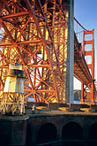 suspension bridge stock photography | California, San Francisco, Fort Point beneath Golden Gate Bridge, image id 8-721-7