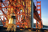 crossing stock photography | California, San Francisco, Fort Point beneath Golden Gate Bridge, image id 8-721-8