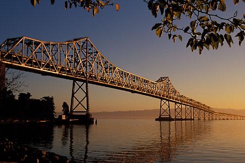 image 9-562-24 California, San Francisco Bay, Bay Bridge at dawn