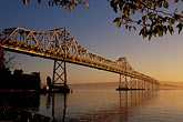 suspension bridge stock photography | California, San Francisco Bay, Bay Bridge at dawn, image id 9-562-24