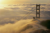 gold stock photography | California, Marin County, Golden Gate Bridge in fog, image id 9-593-35