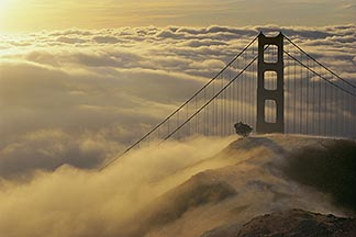 9-593-35  stock photo of California, Marin County, Golden Gate Bridge in fog