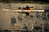 calm stock photography | California, San Francisco, Kayaker and reflections, Marina, image id 9-599-21