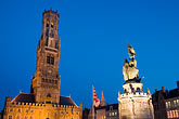 statue stock photography | Belgium, Bruges, Belfry and statue of Jan Breydel and Pieter de Coninck, Belfry tower, Market Square, Brugge Markt, image id 8-740-1254