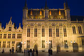 belgium stock photography | Belgium, Bruges, City Hall on the Burg, or Town Hall Square, at night, image id 8-740-1273