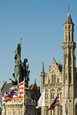 flemish stock photography | Belgium, Bruges, Statue of Jan Breydel and Pieter de Coninck, Provincial Palace , image id 8-740-768