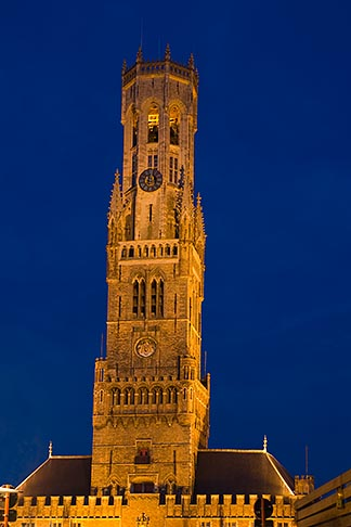 image 8-740-853 Belgium, Bruges, Belfry tower, night scene