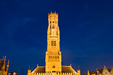 horizontal stock photography | Belgium, Bruges, Belfry Tower at night, image id 8-740-865
