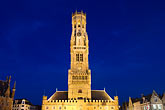 horizontal stock photography | Belgium, Bruges, Belfry tower, night scene, image id 8-740-866