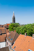 town stock photography | Belgium, Bruges, View over town rooftops towards the Church of Our Lady, Onze-Lieve-Vrouwekerk, image id 8-741-2056