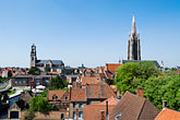 town stock photography | Belgium, Bruges, View over town rooftops towards the Church of Our Lady, Onze-Lieve-Vrouwekerk, image id 8-741-2058