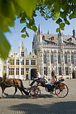 europe stock photography | Belgium, Bruges, City Hall on the Burg, Town Hall Square, with Horse-drawn Carriage, image id 8-741-2091