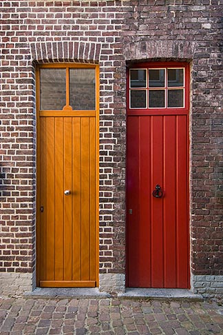 image 8-741-2119 Belgium, Bruges, Painted doors and brick wall