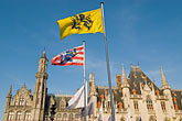 horizontal stock photography | Belgium, Bruges, Provincial Palace with flags of Flanders and Bruges, image id 8-741-2132