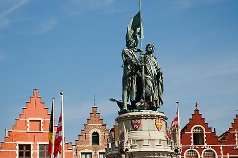 image 8-741-2186 Belgium, Bruges, Statue of Jan Breydel and Pieter de Coninck, Market Square, Brugge Markt