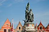 horizontal stock photography | Belgium, Bruges, Statue of Jan Breydel and Pieter de Coninck, Market Square, Brugge Markt, image id 8-741-2186