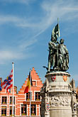 flanders stock photography | Belgium, Bruges, Statue of Jan Breydel and Pieter de Coninck, Market Square, Brugge Markt, image id 8-741-2188