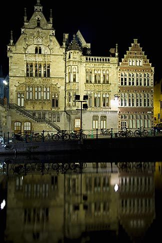 image 8-742-1584 Belgium, Ghent, Gabled guild houses on Graslei canal at night