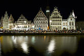 travel stock photography | Belgium, Ghent, Graslei canal houses at night, image id 8-742-1585