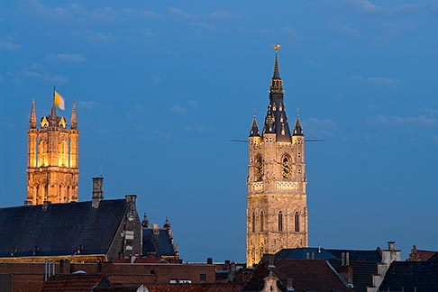 image 8-742-2058 Belgium, Ghent, St Bavos Cathedral and Belfry of Ghent at dusk, Sint Baafskathedraal