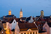 downtown skyline at night stock photography | Belgium, Ghent, St. Bavo