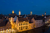 steeple stock photography | Belgium, Ghent, Graslei canal houses at night, image id 8-742-2088