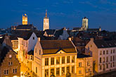 horizontal stock photography | Belgium, Ghent, Graslei canal guild houses at night, image id 8-742-2091