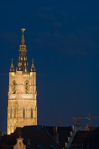 image 8-742-2103 Belgium, Ghent, Belfry at night