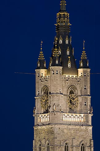 image 8-742-2106 Belgium, Ghent, Belfry at night