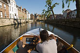 sightseeing boat on canal stock photography | Belgium, Ghent, Sightseeing boat on canal, image id 8-743-2447