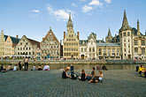 quiet stock photography | Belgium, Ghent, Graslei canal guild houses and waterfront, image id 8-743-2458