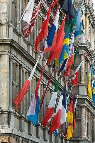 image 8-744-2199 Belgium, Antwerp, International flags on Town Hall, Stadhuis,