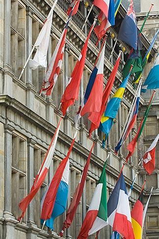 image 8-744-2200 Belgium, Antwerp, International flags on Town Hall, Stadhuis,