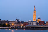 dusk stock photography | Belgium, Antwerp, Cathedral of Our Lady, Onze Lieve Vrouwekathedraal, and riverfront, image id 8-744-2267