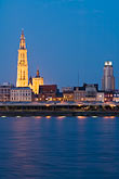 architecture stock photography | Belgium, Antwerp, Cathedral of Our Lady, Onze Lieve Vrouwekathedraal, and River Schelde, image id 8-744-2286