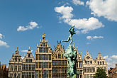 and brabo statue stock photography | Belgium, Antwerp, Grote Markt, Guild houses and Brabo Statue, image id 8-745-2548