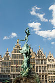 and brabo statue stock photography | Belgium, Antwerp, Grote Markt, Guild houses and Brabo Statue, image id 8-745-2551