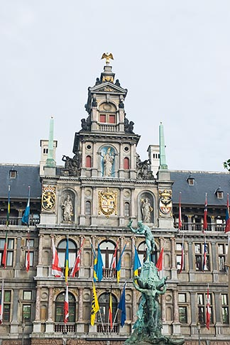 image 8-745-2817 Belgium, Antwerp, Town Hall, Stadhuis, in City Square, Grote Markt, and Brabo Statue