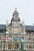 and brabo statue stock photography | Belgium, Antwerp, Town Hall, Stadhuis, in City Square, Grote Markt, and Brabo Statue, image id 8-745-2817