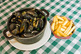 horizontal stock photography | Belgium, Brussels, Mussels and frites, Belgian specialty, image id 8-746-2747