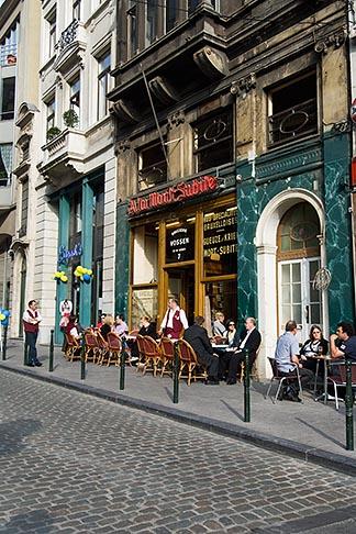 image 8-746-2869 Belgium, Brussels, Sidewalk Cafe, Rue Montagne aux Herbes Potageres
