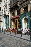 vertical stock photography | Belgium, Brussels, Sidewalk Cafe, Rue Montagne aux Herbes Potag�res, image id 8-746-2869