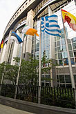 vertical stock photography | Belgium, Brussels, European Parliament buildings with flags of member countries, image id 8-746-2917