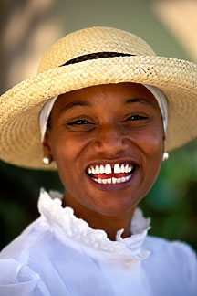 1-600-1  stock photo of Bermuda, St George, Woman with straw hat